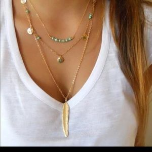 Boho layering leaf bead necklace boutique lane